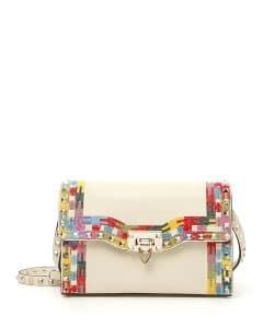 Valentino Ivory Rockstud Medium Framed Shoulder Bag