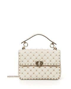 Valentino Ivory Rockstud Spike Medium Shoulder Bag