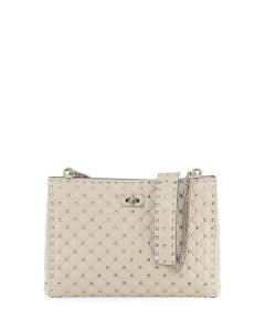 Valentino Ivory Rockstud Spike Shoulder Tote Bag