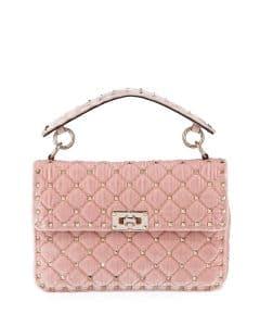 Valentino Light Pink Velvet Rockstud Spike Medium Shoulder Bag