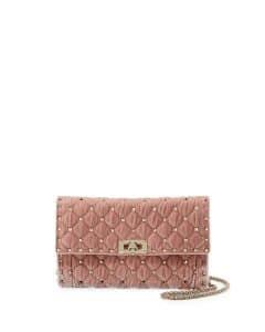 Valentino Light Pink Velvet Rockstud Spike Wallet On Chain Bag