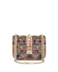 Valentino Multicolor Beaded Lock Flap Small Bag