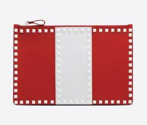Valentino Red Free Rockstud Flat Pouch Bag