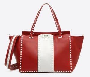 Valentino Red Free Rockstud Medium Tote Bag
