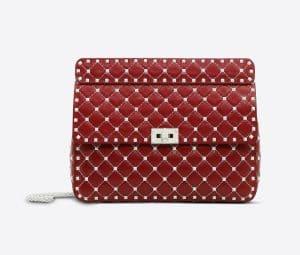 Valentino Red Free Rockstud Spike Chain Bag