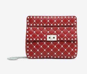 Valentino Red Free Rockstud Spike Medium Chain Bag