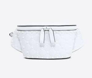 Valentino White Free Rockstud Spike Belt Bag