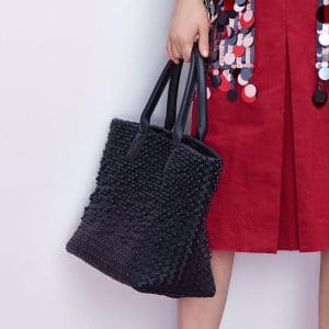 Bottega Veneta Black Intrecciato and Studded Cabat Bag - Pre-Fall 2018