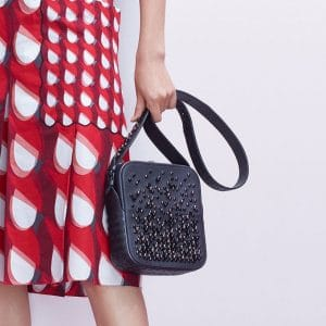 Bottega Veneta Black Intrecciato and Studded Messenger Bag - Pre-Fall 2018