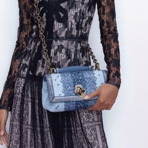 Bottega Veneta Blue Intrecciato Olimpia Knot Bag - Pre-Fall 2018