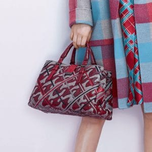 Bottega Veneta Gray/Red Intrecciato/Python Roma Bag - Pre-Fall 2018