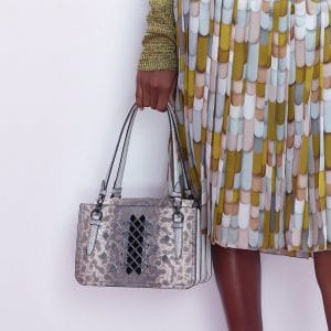 Bottega Veneta Grey Snakeskin Tote Bag - Pre-Fall 2018