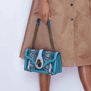 Bottega Veneta Turquoise Snakeskin City Knot Bag - Pre-Fall 2018