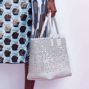 Bottega Veneta White Intrecciato and Studded Cabat Bag - Pre-Fall 2018