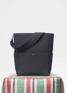 Celine Anthracite Soft Grained Calfskin Sangle Bucket Bag