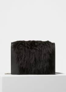 Celine Black Fur/Smooth Lamsbkin Frame Evening Clutch on Chain Bag