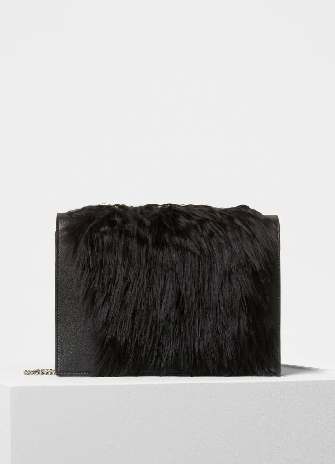 0cf874d41d4b Celine Black Fur Smooth Lamsbkin Frame Evening Clutch on Chain Bag