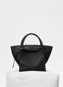 Celine Black Supple Grained Calfskin Small Big Bag with Long Strap