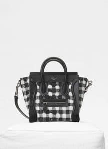 Celine Black/White Vichy Fabric Nano Luggage Bag