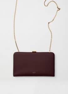 Celine Bordeaux Clasp Large Wallet On Chain Bag