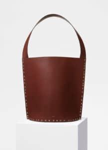 Celine Dark Brown Satinated Natural Calfskin Large Studs Bucket Bag