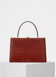 Celine Dark Claycourt Crocodile Medium Clasp Bag