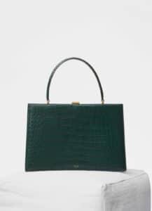 Celine Dark Green Crocodile Medium Clasp Bag