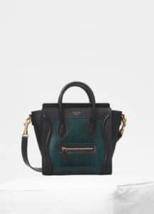 Celine Dark Green Lizard/Calfskin Nano Luggage Bag