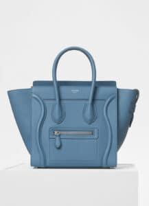 Celine Medium Blue Baby Drummed Calfskin Micro Luggage Bag