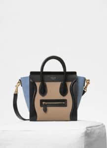 Celine Medium Blue Multicolour Baby Grained Calfskin Nano Luggage Bag