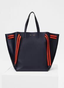Celine Navy Blue Calfskin with Wool Belt Large Cabas Phantom Bag