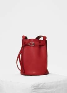 Celine Pop Red Smooth Calfskin Big Bag Bucket with Long Strap