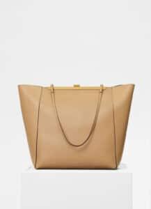 Celine Sand Smooth Calfskin Cabas Clasp Bag