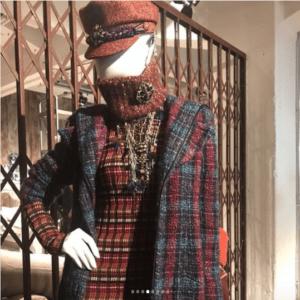 Chanel Multicolor Tweed Coat and Orange Sailor Cap - Pre-Fall 2018