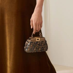 Fendi Brown/Black FF Pattern Fringed Micro Peekaboo Bag - Pre-Fall 2018