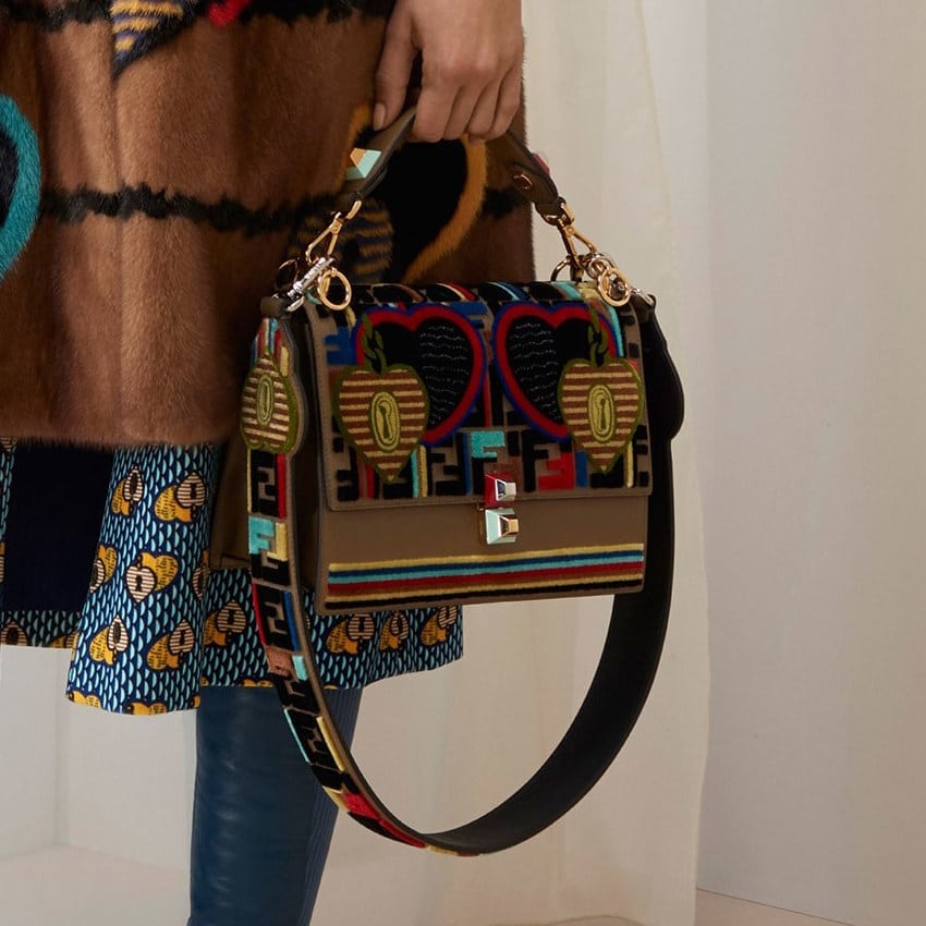 a95f9d0856 Fendi Multicolor Heart and FF Pattern Kan I Bag - Pre-Fall 2018