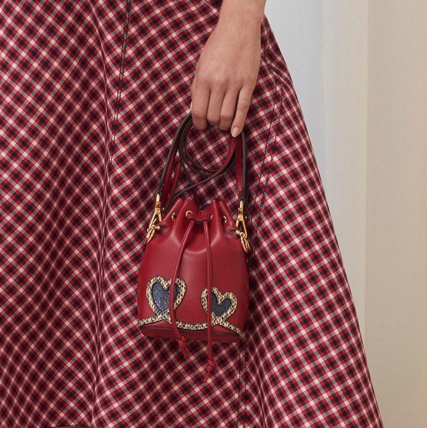 183e8bf927ac Fendi Red Heart Embroidered Mon Tresor Bucket Bag - Pre-Fall 2018