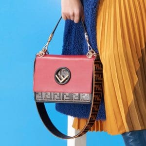 Fendi Red Leather/FF Pattern Kan I F Bag - Pre-Fall 2018