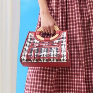Fendi Red/White/Blue Woven Plaid Mini Runaway Tote Bag - Pre-Fall 2018