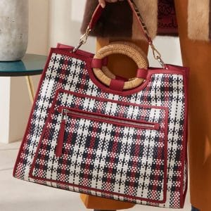 Fendi Red/White/Blue Woven Plaid Runaway Tote Bag - Pre-Fall 2018