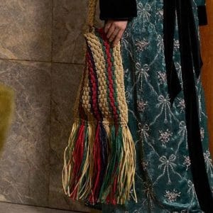 Gucci Beige Woven Fringed Messenger Bag - Pre-Fall 2018