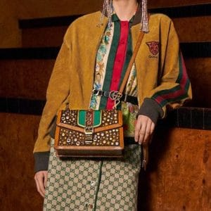 Gucci Brown Embellished Sylvie Shoulder Bag - Pre-Fall 2018