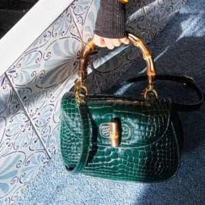 Gucci Green Alligator Bamboo Top Handle Bag - Pre-Fall 2018