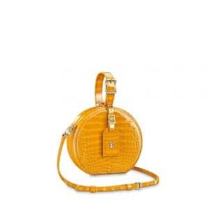 Louis Vuitton Jaune d'or Crocodilien Brillant Petite Boite Chapeau Bag