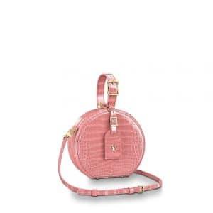 Louis Vuitton Rose Tourmaline Crocodilien Brillant Petite Boite Chapeau Bag