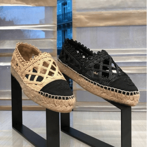 Chanel Beige and Black Fabric/Grosgrain Perforated Espadrilles