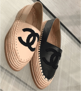 Chanel Beige and Black Lambskin/Grosgrain Espadrilles