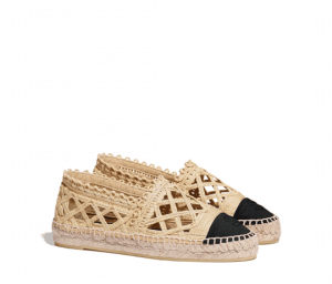 Chanel Beige/Black Fabric/Grosgrain Perforated Espadrilles