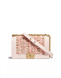 Chanel Beige/Pink Braided Tweed Boy Chanel Old Medium Flap Bag