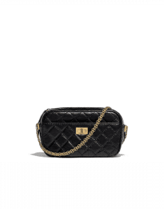 Chanel Black Aged Calfskin Reissue Camera Case Bag